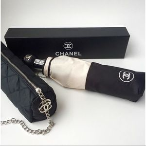 Authentic Chanel beige and black umbrella
